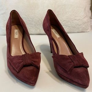 AUTHENTIC- PRADA MAROON SUEDE BOW POINT TOE PUMPS